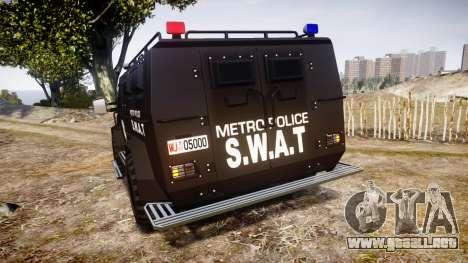 SWAT Van Metro Police para GTA 4 Vista posterior izquierda