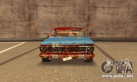 Ford PickUp Rusted para GTA San Andreas vista posterior izquierda