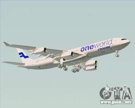 Airbus A340-300 Finnair (Oneworld Livery) para vista inferior GTA San Andreas