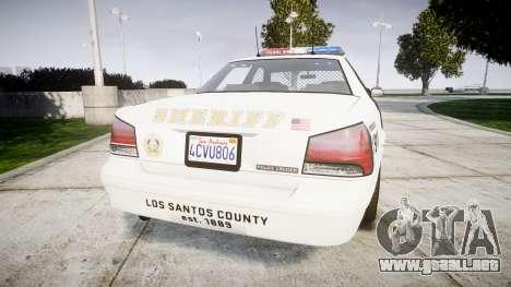 GTA V Vapid Police Cruiser Rotor [ELS] para GTA 4 Vista posterior izquierda