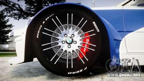 BMW M3 E46 GTR Most Wanted plate NFS MW para GTA 4 vista hacia atrás