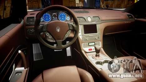 Maserati GranTurismo S 2010 PJ 1 para GTA 4 vista hacia atrás