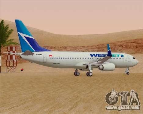 Boeing 737-800 WestJet Airlines para GTA San Andreas vista hacia atrás