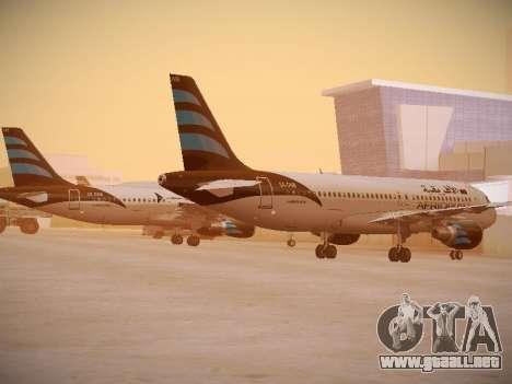 Airbus A320-214 Afriqiyah Airways para GTA San Andreas vista posterior izquierda