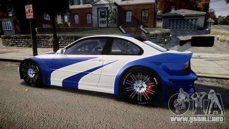 BMW M3 E46 GTR Most Wanted plate NFS ND 4 SPD para GTA 4 left