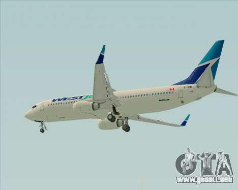 Boeing 737-800 WestJet Airlines para visión interna GTA San Andreas