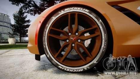 Chevrolet Corvette C7 Stingray 2014 v2.0 TireMi4 para GTA 4 vista hacia atrás