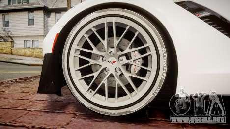 Chevrolet Corvette Z06 2015 TireKHU para GTA 4 vista hacia atrás