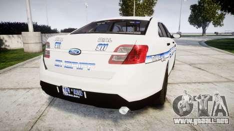 Ford Taurus 2014 [ELS] Liberty County Sheriff para GTA 4 Vista posterior izquierda