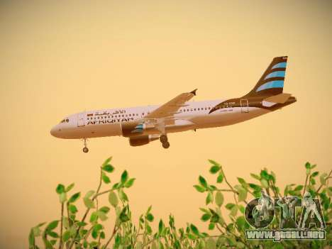 Airbus A320-214 Afriqiyah Airways para vista inferior GTA San Andreas