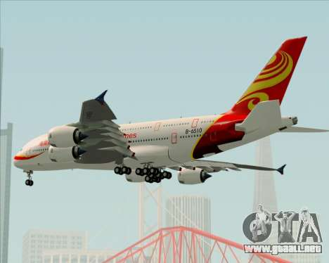 Airbus A380-800 Hainan Airlines para la vista superior GTA San Andreas