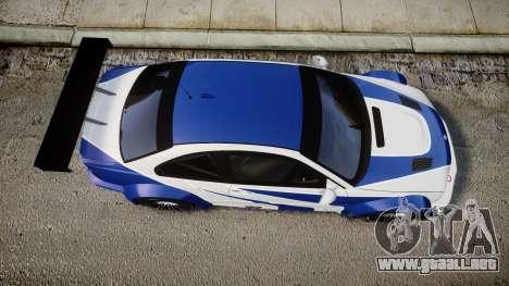 BMW M3 E46 GTR Most Wanted plate NFS ND 4 SPD para GTA 4 visión correcta