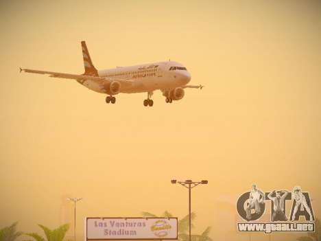Airbus A320-214 Afriqiyah Airways para la vista superior GTA San Andreas