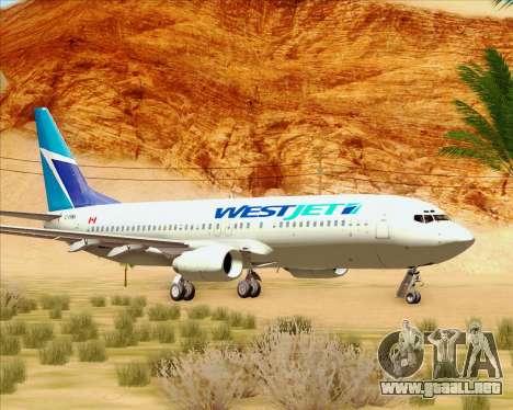 Boeing 737-800 WestJet Airlines para GTA San Andreas left