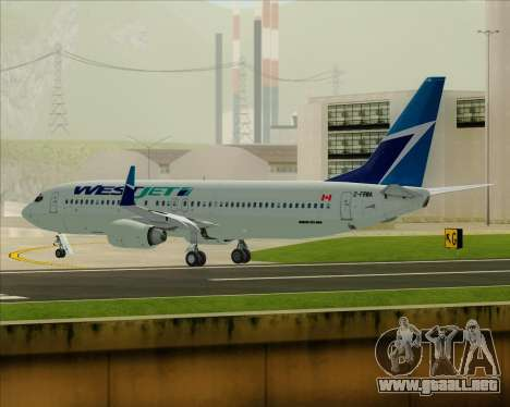 Boeing 737-800 WestJet Airlines para vista inferior GTA San Andreas