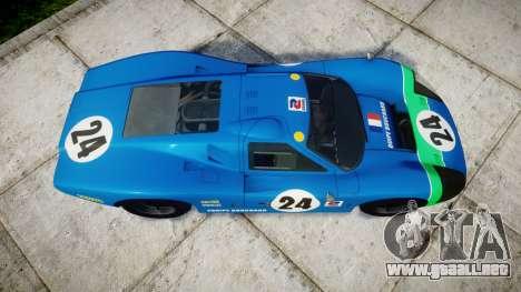 Ford GT40 Mark IV 1967 PJ Equipe Bouchard 24 para GTA 4 visión correcta