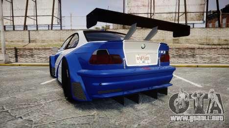 BMW M3 E46 GTR Most Wanted plate NFS MW para GTA 4 Vista posterior izquierda