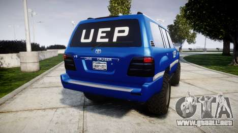 Toyota Land Cruiser 100 UEP blue [ELS] para GTA 4 Vista posterior izquierda