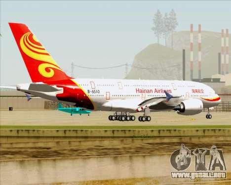 Airbus A380-800 Hainan Airlines para vista inferior GTA San Andreas