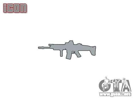 Máquina FN CICATRIZ-L Mc 16 de destino icon1 para GTA 4 adelante de pantalla