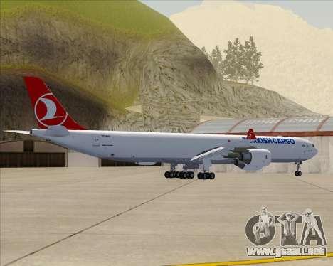 Airbus A340-600 Turkish Cargo para GTA San Andreas vista hacia atrás