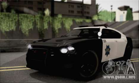 Bravado Buffalo S Police Edition (HQLM) para GTA San Andreas vista posterior izquierda