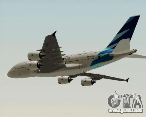 Airbus A380-800 Garuda Indonesia para GTA San Andreas vista posterior izquierda