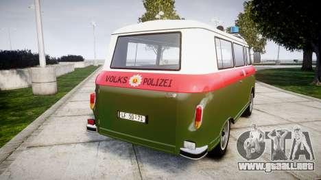 Barkas B1000 1961 Police para GTA 4 Vista posterior izquierda