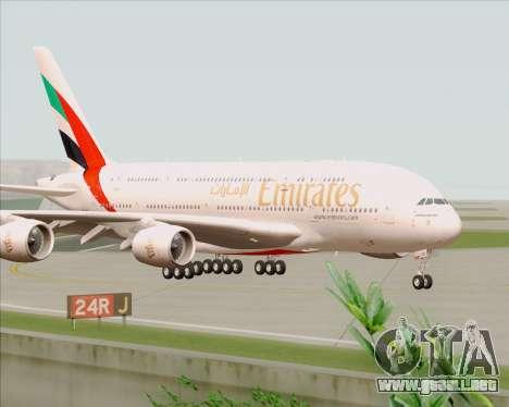 Airbus A380-800 Emirates 40 Anniversary Sticker para GTA San Andreas vista posterior izquierda