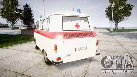 Barkas B1000 1961 Ambulance para GTA 4 Vista posterior izquierda