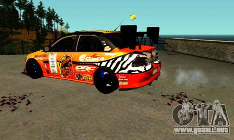 Mitsubishi Lancer Evo 9 Kumakubo Team Orange para GTA San Andreas left