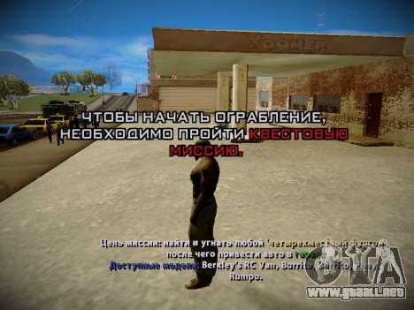 Sistema de robos v4.0 para GTA San Andreas quinta pantalla
