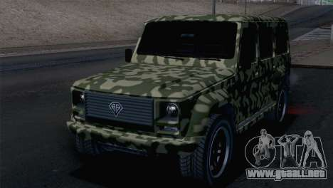 GTA 5 Benefactor Dubsta para GTA San Andreas vista hacia atrás