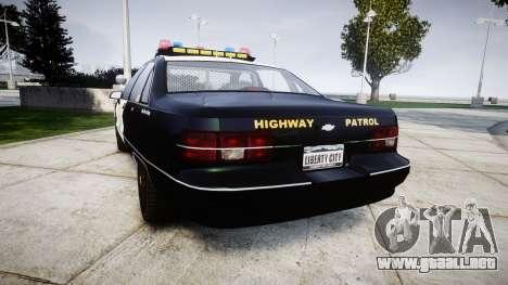 Chevrolet Caprice 1991 Highway Patrol [ELS] para GTA 4 Vista posterior izquierda