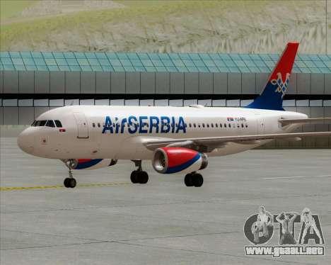 Airbus A319-100 Air Serbia para GTA San Andreas vista posterior izquierda