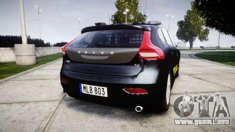 Volvo V40 Swedish TULL [ELS] para GTA 4 Vista posterior izquierda