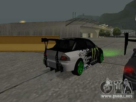 Mitsubishi Lancer Evo 9 Monster Energy para la visión correcta GTA San Andreas