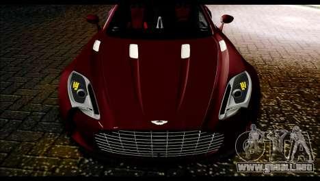 Aston Martin One-77 Black and Red para GTA San Andreas vista posterior izquierda