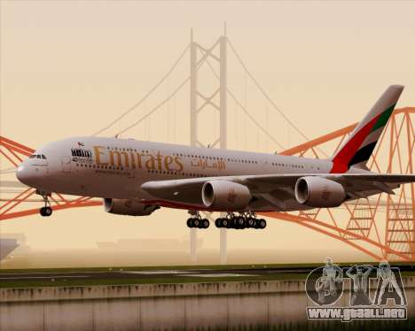 Airbus A380-800 Emirates 40 Anniversary Sticker para GTA San Andreas left