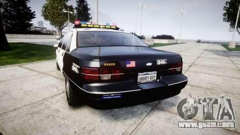 Chevrolet Caprice 1991 LAPD [ELS] Traffic para GTA 4 Vista posterior izquierda