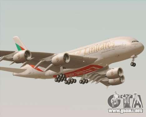 Airbus A380-800 Emirates 40 Anniversary Sticker para GTA San Andreas vista hacia atrás