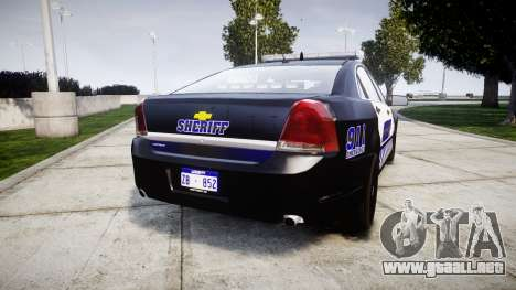 Chevrolet Caprice 2012 Sheriff [ELS] v1.1 para GTA 4 Vista posterior izquierda