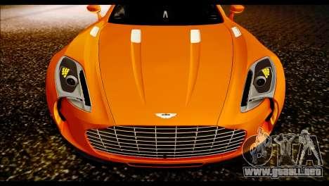 Aston Martin One-77 Black para GTA San Andreas vista posterior izquierda