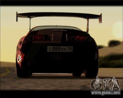 Toyota Supra Fail Crew para GTA San Andreas vista posterior izquierda