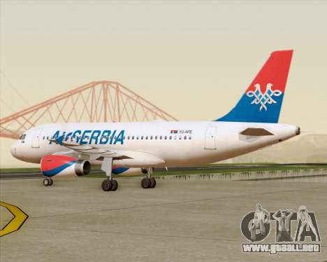 Airbus A319-100 Air Serbia para vista lateral GTA San Andreas