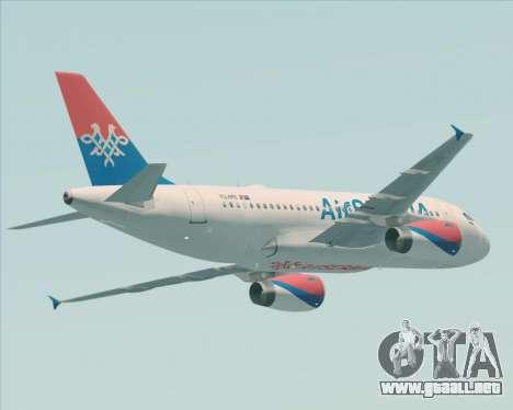 Airbus A319-100 Air Serbia para GTA San Andreas vista hacia atrás