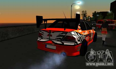 Mitsubishi Lancer Evo 9 Kumakubo Team Orange para GTA San Andreas vista hacia atrás