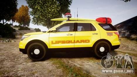 Ford Explorer 2013 Lifeguard Beach [ELS] para GTA 4 left