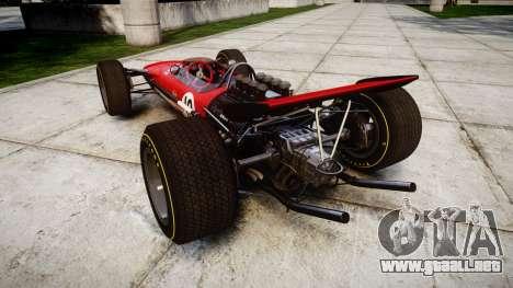 Lotus Type 49 1967 [RIV] PJ9-10 para GTA 4 Vista posterior izquierda