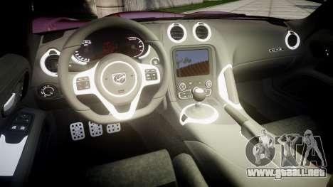 Dodge Viper SRT GTS 2013 Sharpie para GTA 4 vista interior